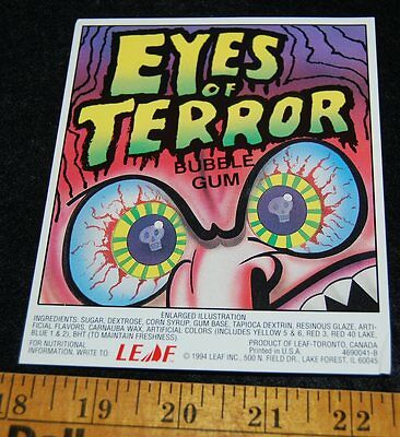 [ 1994 Leaf EYES OF TERROR Bubble Gum - Skull - Gumball Vending Machine Card ]