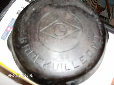 Cast Iron 6 inch double spout fry pan marked Brockville Ont with G in diamond
