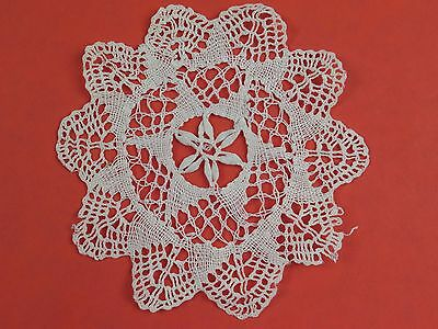 Antique Handmade Bobbin Lace Round Doily Doiley Table Crochet Needle Star