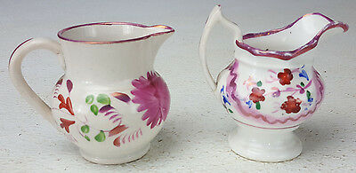 2 Antique Miniature Pink Luster Childs Size Floral Pitchers