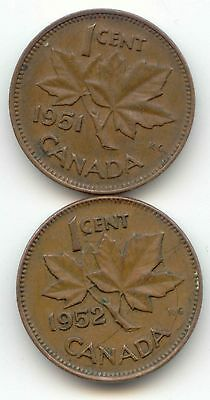 1951 1952 Canadian PENNY Pennies one cent Canada 1c  Exact Set ~