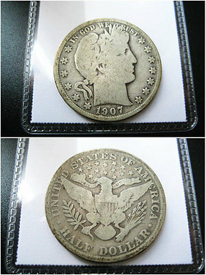 1907 Barber Half Dollar Choice F Coin
