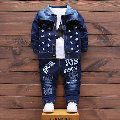 Kids Baby Boys Clothes Outfit Boy Clothing Outfits Sets Coat + T-shirt + Pants