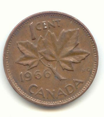 1966 Canadian PENNY one cent Canada 1c ~ Exact Coin Shown ~