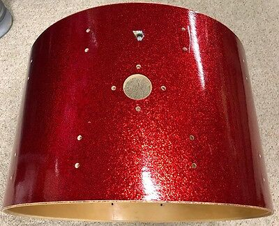 """Vintage Ludwig Bass Drum Shell - Late 1970s - 22"""" X 14"""" - Red Sparkle - Nice!"""