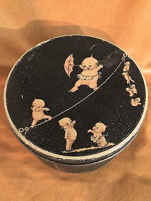 Antique Kewpie Tin Round Tightrope Walking Kewpie Cupie Rose O'Neill 1920s