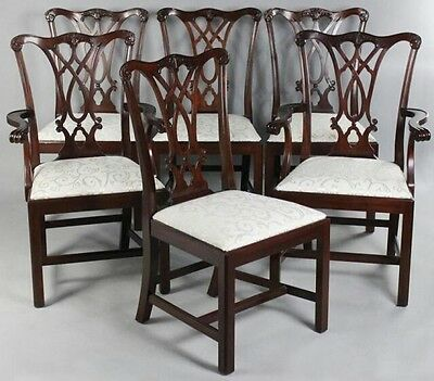 HENKEL HARRIS Set Of 6 Model #107 Mahogany Dining Room Chairs Williamsburg Style