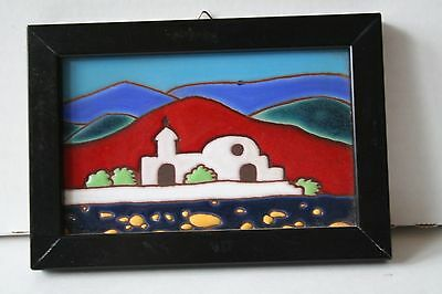 Vintage Ceramic Tile Mission Church in Solid Wood Frame Wall Decoration