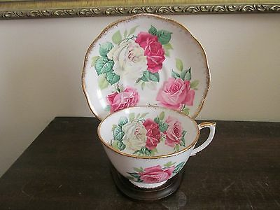 Vintage Roslyn England Melody Rose Bone China Tea Cup And Saucer