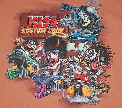 KISS Kustom Shop Hot Rods 2003 Tour Concert T-Shirt XL Gene Simmons Ace Frehley
