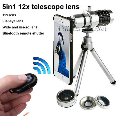 5in1 12x Telescope Phone Lens+Bluetooth Remote+3in1 Lens for Samsung S8/S7 Edge