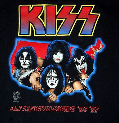 KISS Alive Worldwide Tour Group In USA Map T-Shirt L Gene Simmons Ace Frehley