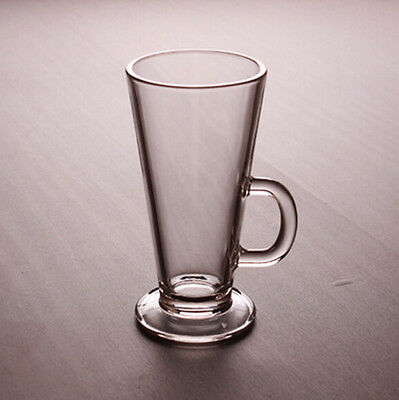 New 4 pcs Tall Latte Glass 250ml with handle Hot Cold cofffee Glasses