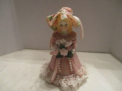 Porcelain Bisque Girl in Pink Dress With Applied Fabric/Lace Bell