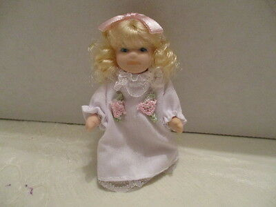 "Miniature 3"" H Porcelain Doll With Movable Arm/Legs White Dress Pink Accents"