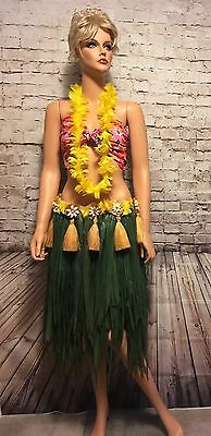 Vtg Hawaiian Grass Hula Skirt Feather Lei Shell Beads Polynesian Whirling Drum