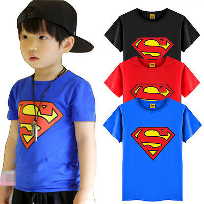 Baby Boys Superman Shirts Tops Kids Clothing T-Shirt Summer Short Sleeve Blouse