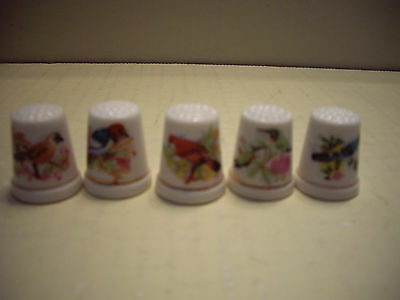 "Lot of 5 ""Bird"" Porcelain Thimbles"