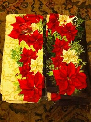 New 4 Pc St. Nicholas Square HOLIDAY POINSETTIA KITCHEN TOWELS