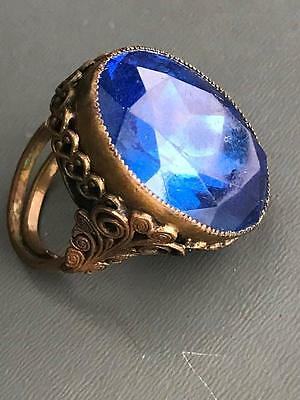 MASSIVE Antique Victorian Czech Faceted Sapphire glass Brass Adjustable Ring