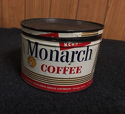Vintage Monarch Coffee Tin One Pound Consolidated Grocers Corporation Chicago