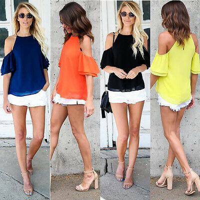 Fashion Women's Off Shoulder Tops Short Sleeve Shirt Casual Blouse Loose T-shirt
