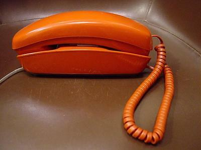 1970s Retro AT&T Western Electric Orange Trimline Push Button Touch Tone Phone