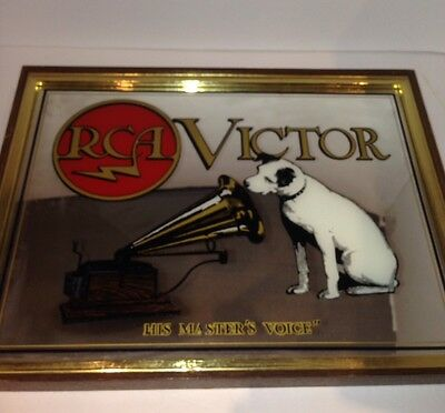 Vintage RCA Victor His Master's Voice Bar Mirror Sign