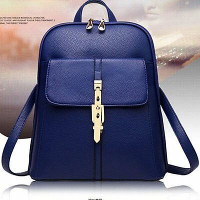 Fashion Women Leather Backpack Mini Travel Rucksack Handbags School Bag Blue NEW