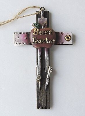 Cross Best Teacher Apple Ruler Compass 3 x 5 Inches Polyresin New Ornament Style