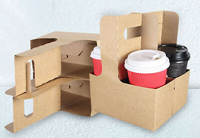 Takeaway T/A Drinks Coffee Carrier for 2 or 4 cups Kraft Brown Paper 100 trays