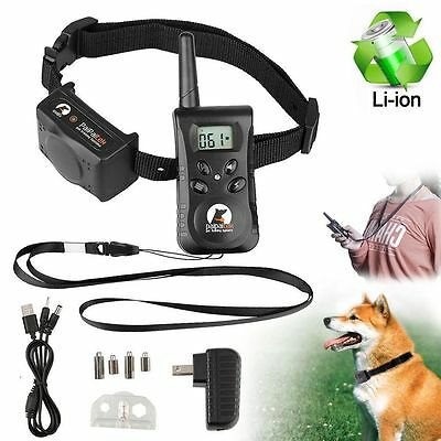 Dog Training Collar Rechargeable Electric LCD 100LV Shock Waterproof 500 Yard US