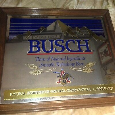 "VINTAGE ADVERTISING BUSCH BEER 24"" x 20.5"" MIRROR SIGN ANHEUSER 1978 Man Cave"