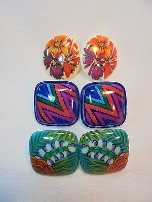 Vintage Lot of 3 Pairs of Earrings Lucite/Vintage Plastic Large Boho 80's Retro!