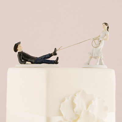Western Bride and Roped Up Groom Funny Wedding Cake Topper Custom
