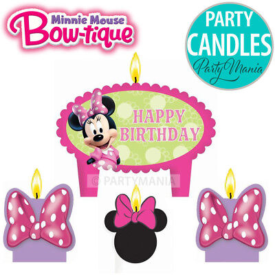Minnie Mouse Girls 1St Birthday Party Supplies Candle Mini Moulded Pack Of 4