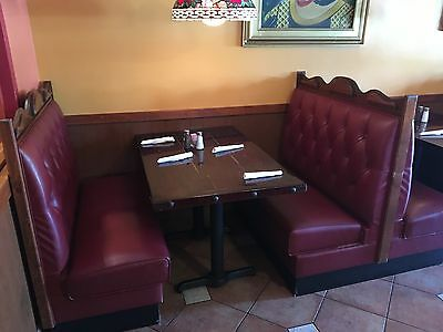 restaurant booths, tables, and chairs
