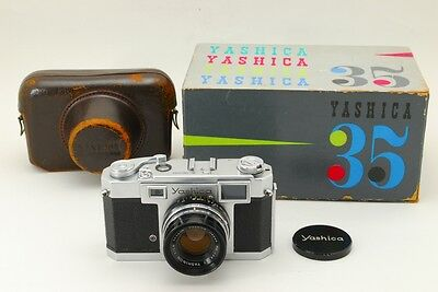 【RARE】YASHICA 35 RANGEFINDER 35mm Film Camera with 45mm F1.9 Lens,BOX,CASE #137