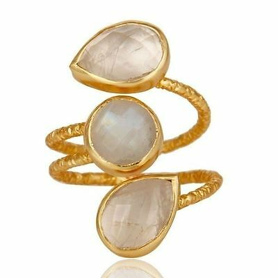 Rainbow Moonstone Gemstone Jewelry 925 Sterling Silver Ring 18k Gold Plated