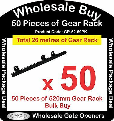 Bulk Buy of 50 x 520mm Pieces of Sliding Gate Gear Rack