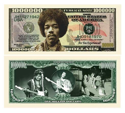Jimi Hendrix Million Dollar Bill in Currency Protector