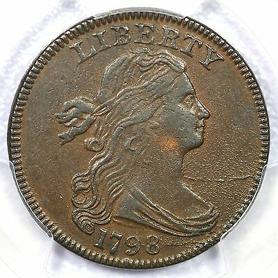 1798 S-157 R-2 PCGS AU 53 1st Hair Style Small 8 Draped Bust Large Cent Coin 1c