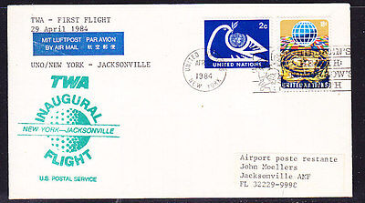 USA 1984 TWA New York to Jacksonville  Flight Cover (Green Cachet)