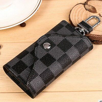 Fashion Men Women PU Leather Car Key Bag Chain Card Holder Wallet Case Key Bag
