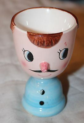 RARE Vtg JAPAN Hand Painted Man with Mustache  Egg Cup
