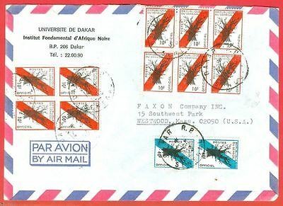 Senegal Official Block of 6 & 4 used on cover to USA