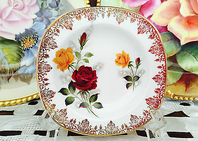 Vintage Alfred Meakin England 'glo-White Ironstone' Rose & Gold Pin Dish C1945+