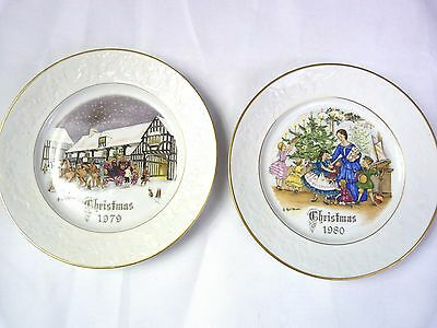 Lot #2 Royal Worcester Christmas Plates 1972 & 1980 - No. 1 & 2 in series of 4