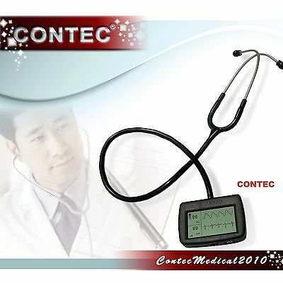 Multi-function electronic stethoscope+ECG waveform, heart rate,SpO2 ,pulse rate