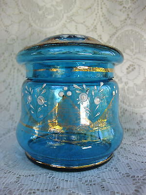 Victorian Blue Glass Hand Painted Trinket Bowl